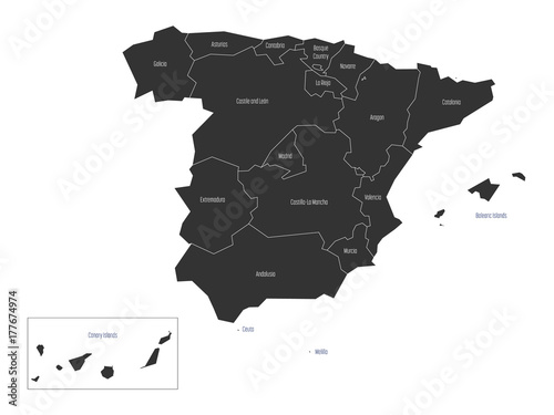 Spanish map devided to 17 administrative autonomous communities. Simple flat dark vector map.