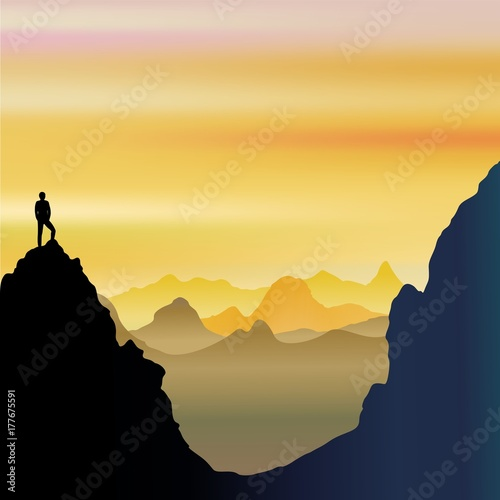 Deurstickers Draw On Top of the World - Lonely Man on Mountains Landscape
