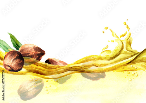 Fotografie, Obraz  Jojoba oil wave watercolor illustration