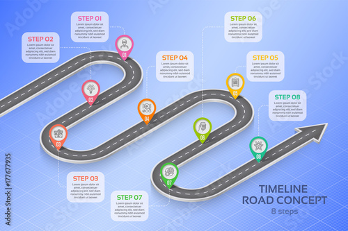 Photo  Isometric navigation map infographic 8 steps timeline concept