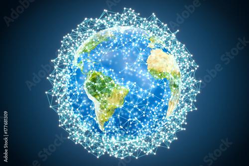 Fototapeta Abstrakcjonistyczna świecąca kuli ziemskiej ziemia, 3D rendering