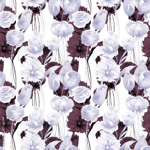 Plakat Bezszwowa tapeta z lato kwiatami
