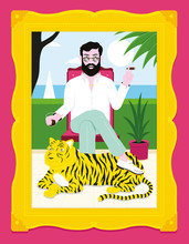 Portrait Of Man And Tiger