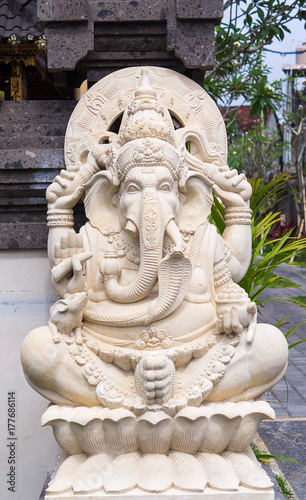 Plakat Ganeha statua w Bali, Indonezja