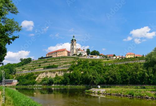 The historic Mělník castle and church tower of St Canvas Print