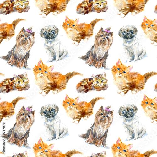 bezszwowy-wzor-mopsa-pies-yorkshire-terrier-i-imbirowa-figlarka-kartka-z-pozdrowieniami-kot-i-pies-zwierze-domowe-reka-akwarela