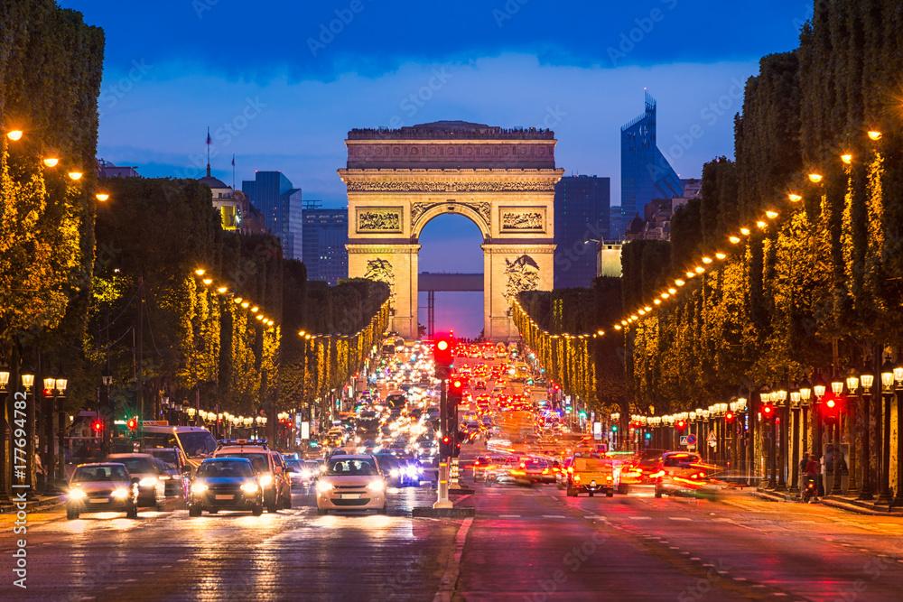 Fototapety, obrazy: Champs Elysees and Arc de Triomphe, Paris