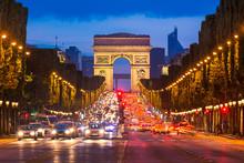 Champs Elysees And Arc De Triomphe, Paris