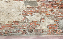Grunge Wall Background, Bricks And Pieces Of Plaster