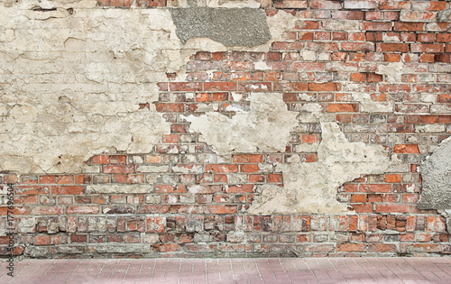Recess Fitting Brick wall grunge wall background, bricks and pieces of plaster