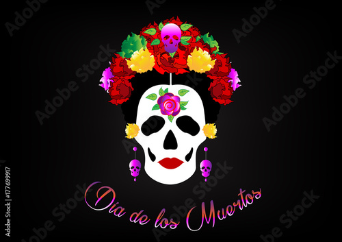 Printed kitchen splashbacks day of the dead, portrait of Mexican Catrina with skulls and red flowers , inspiration Santa Muerte in Mexico and la Calavera , vector illustration isolated