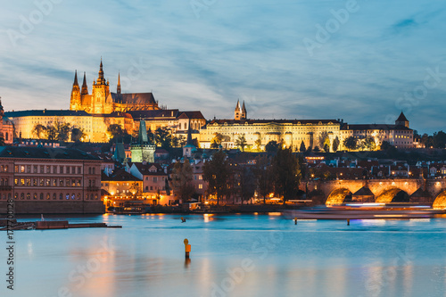 Fototapety, obrazy: view of historical center of Prague durin beautiful sunset with castle, Hradcany, Czech Republic