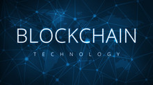 Blockchain Technology On Futuristic Hud Background With World Map And Blockchain Peer To Peer Network. Global Cryptocurrency Blockchain Business Banner Concept.