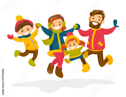 Caucasian White Family Jumping And Having Fun Together In Winter Smiling Parents And Their Children Playing In The Snow Family Time And Winter Leisure Concept Vector Isolated Cartoon Illustration Buy This