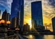 Sunset behind the towers along Chicago's River