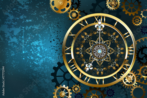 Stampa su Tela Golden clock on turquoise background