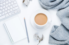 Coffee With Milk And A Gray Scarf On A White Background. The Concept Of Beauty Blogger