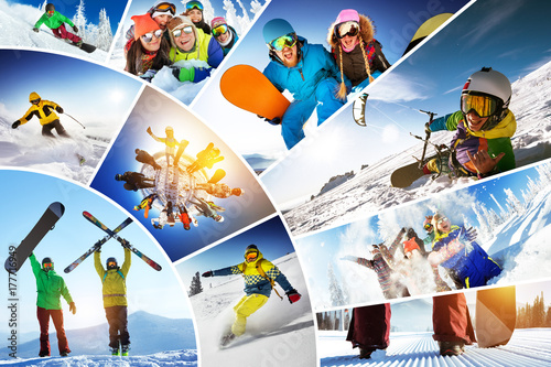 Poster Glisse hiver Mosaic collage ski snowboard winter sports