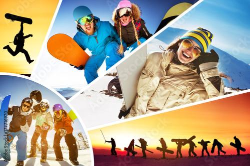 Fotobehang Wintersporten Collage ski skiers snowboarders winter sports