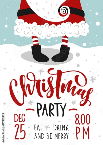 Christmas party invitation vector template with calligraphy and christmas party invitation vector template with calligraphy and hand drawn design elements stopboris