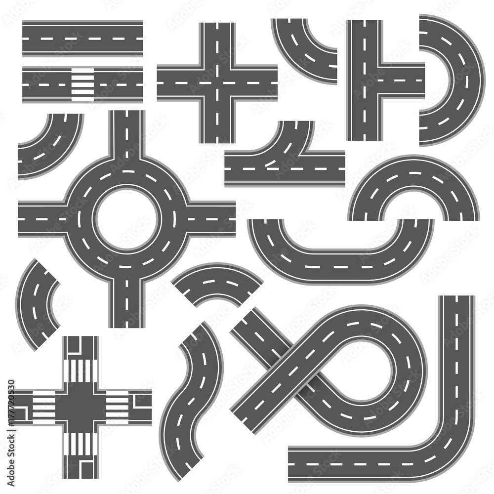 Fototapeta Street and road with footpaths and crossroads. Vector elements for city map