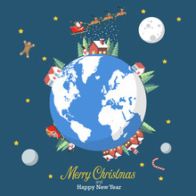 Merry Christmas And Happy New Year With Earth Globe