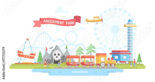 Foto  City with amusement park - modern flat design style vector illustration