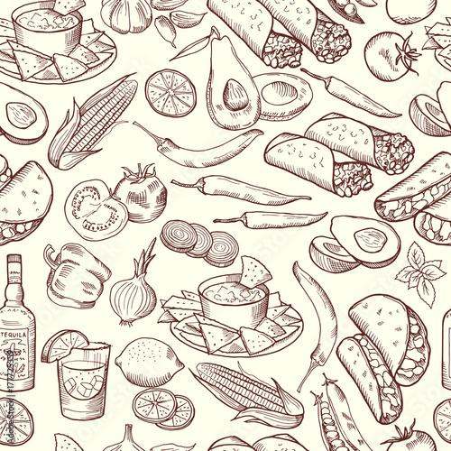 bezszwowy-wzor-z-tradycyjnym-meksykanskim-jedzeniem-zestaw-zdjec-wektorowych