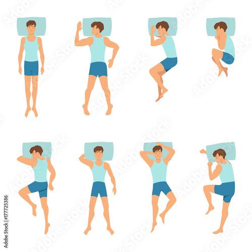 Valokuvatapetti Different positions of sleeping man