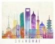 Shanghai landmarks watercolor poster
