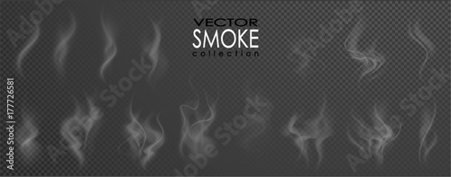 Poster Fumee Smoke vector collection, isolated, transparent background. Set of realistic white smoke steam, waves from coffee,tea,cigarettes, hot food,... Fog and mist effect.