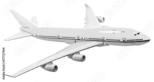 Photo avion de ligne, maquette en noir et blanc, fond blanc