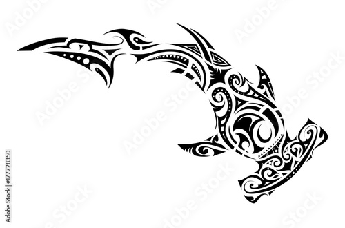 Maori style hammer shark tattoo Canvas Print