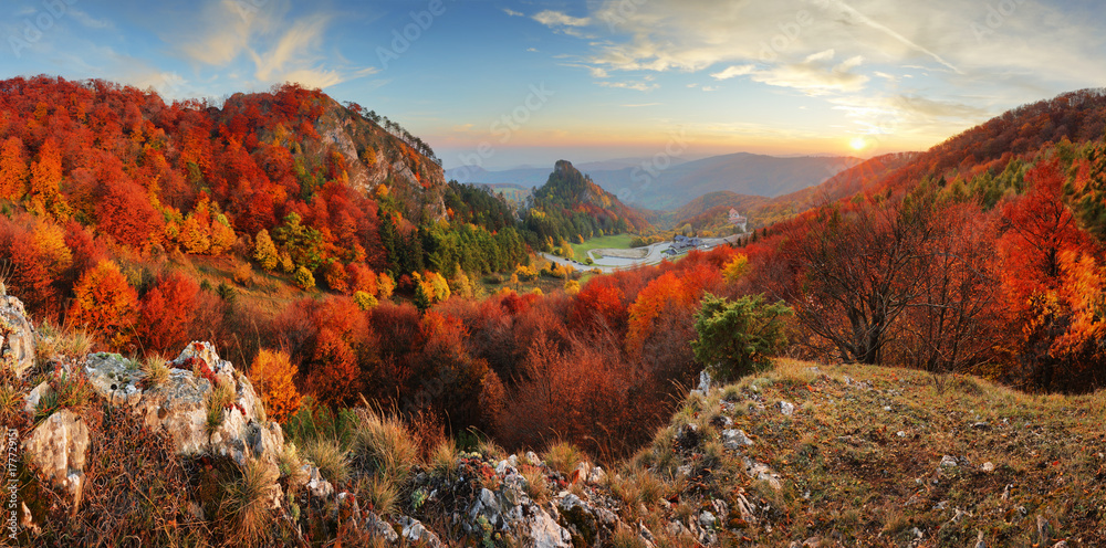Fototapety, obrazy: Autumn panorama landscape at sunset in Slovakia, Vrsatec