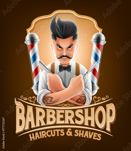barber shop illustration with hipster Wallpaper Mural