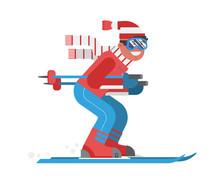 Smiling Cartoon Skier In Motio...