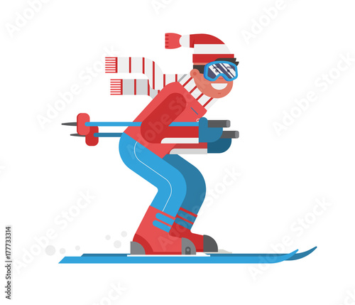 Cuadros en Lienzo  Smiling cartoon skier in motion isolated on white background