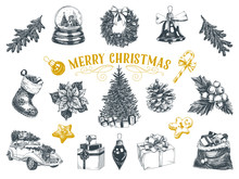 Beautiful Vector Hand Drawn Christmas Illustrations Set.