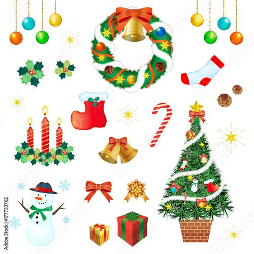 クリスマスツリークリスマスリースオーナメントのイラスト素材 Buy
