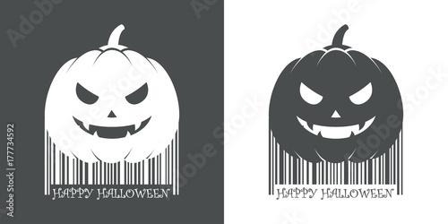 Codigo de barras Happy Halloween calabaza gris y blanco - Buy this ...