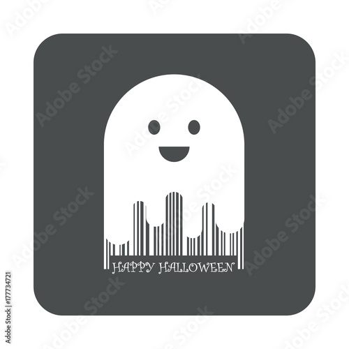 Photo Icono plano codigo de barras Happy Halloween fantasma en cuadrado gris