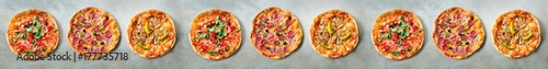 Pizza pattern. Nine pieces set on grey concrete background. Top view, copyspace