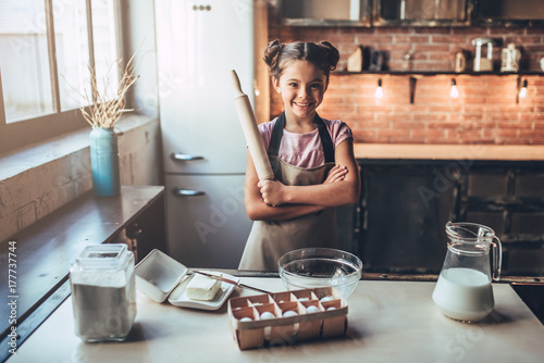 Recess Fitting Bread Cute girl on kitchen