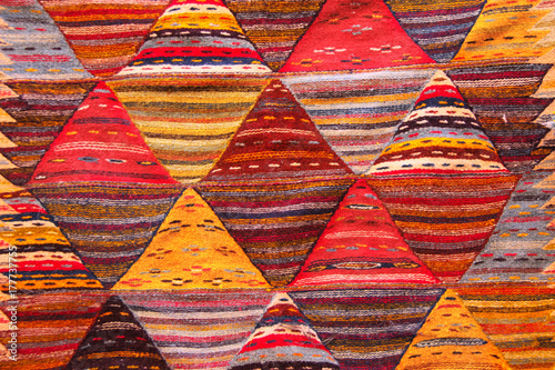 Texture of berber traditional wool carpet, Morocco, Africa