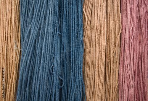 Photo  Background: flax fiber hank (birch), different colors (pink, blue, peach), obtai