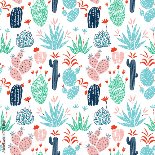 Cactuses vector seamless pattern