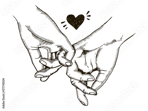 Obraz Couple in love hold hands engraving vector - fototapety do salonu