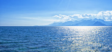 Panoramic View On Mediterranean Sea And Mountains From A Harbor In Old Town Kaleici. Antalya, Turkey