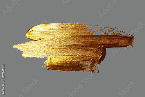 Fototapeta hand drawing gold brush stroke paint