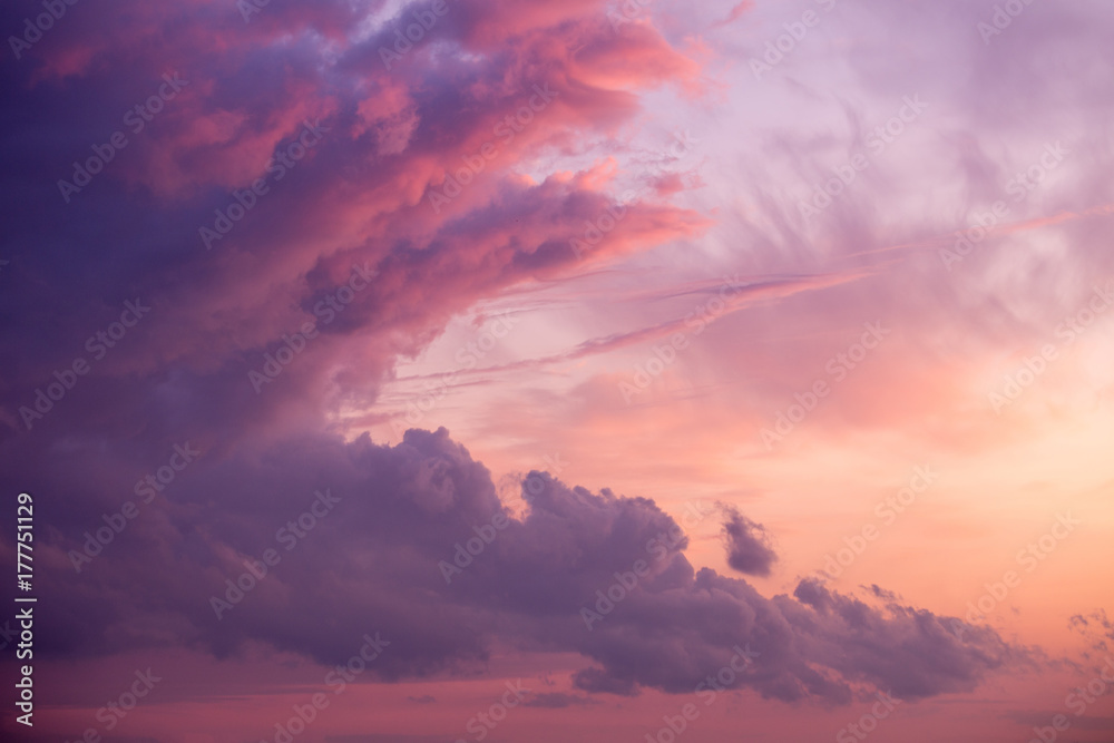 Fototapeta Dramatic and scenic cloudy sunset or sunrise  sky . Purple fiery lights. Wallpaper or background